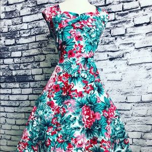 Dresses & Skirts - Teal Red Tropical Floral Pinup Fit Flare Dress